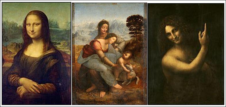 20 leonardo mona lisa + twee andere schilderijen